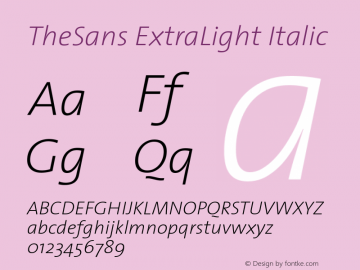 TheSans ExtraLight Italic 1.0 Font Sample