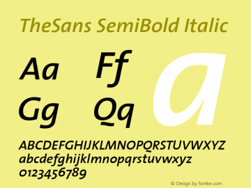 TheSans SemiBold Italic 1.0 Font Sample