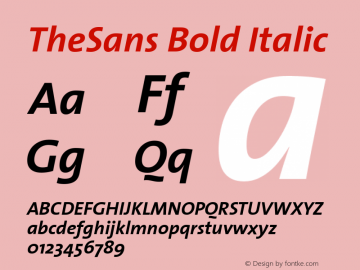 TheSans Bold Italic 1.0 Font Sample
