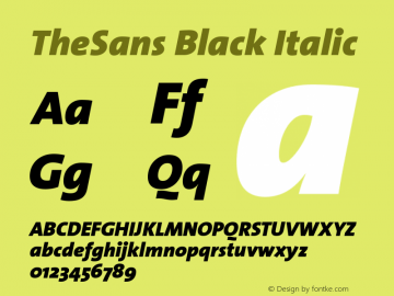 TheSans Black Italic 1.0 Font Sample
