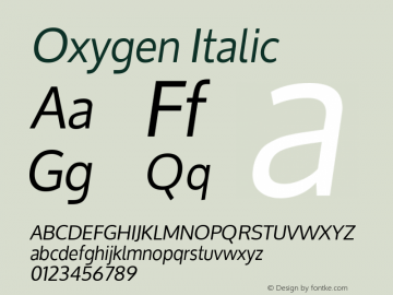 Oxygen Italic Version 1.000 Font Sample