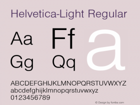 Helvetica-Light Regular Converted from D:\NYFONT\ST000007.TF1 by ALLTYPE Font Sample