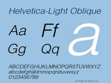 Helvetica-Light Oblique 001.001 Font Sample
