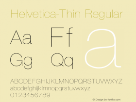 Helvetica-Thin Regular Converted from D:\NYFONT\ST000008.TF1 by ALLTYPE Font Sample