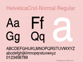 HelveticaCnd-Normal Regular Converted from D:\NYFONT\ST000018.TF1 by ALLTYPE Font Sample