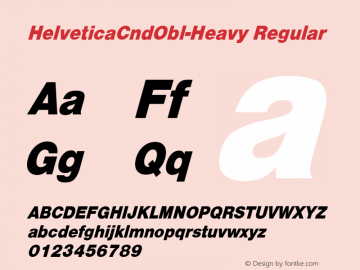 HelveticaCndObl-Heavy Regular Converted from D:\NYFONT\ST000078.TF1 by ALLTYPE Font Sample
