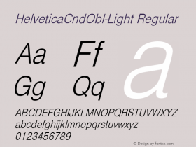 HelveticaCndObl-Light Regular Converted from D:\NYFONT\ST000083.TF1 by ALLTYPE Font Sample