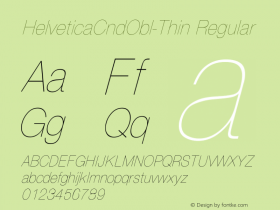 HelveticaCndObl-Thin Regular Converted from D:\NYFONT\ST000092.TF1 by ALLTYPE Font Sample