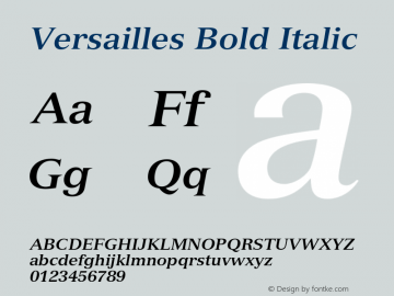 Versailles Bold Italic 001.002 Font Sample