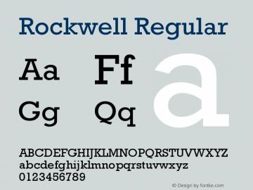 Rockwell Regular Version 4 Font Sample