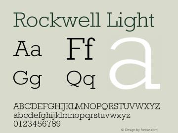 Rockwell Light Version 4 Font Sample