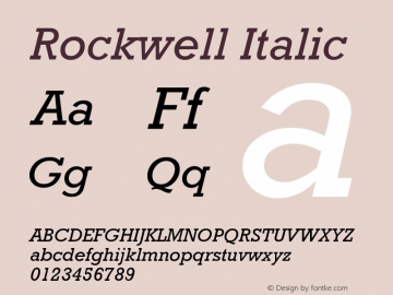 Rockwell Italic Version 4 Font Sample