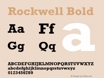 Rockwell Bold Version 4 Font Sample