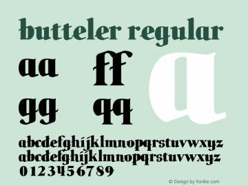 butteler Regular Version 1.001 1999 Font Sample