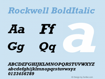 Rockwell BoldItalic Version 001.000图片样张