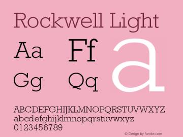 Rockwell Light Version 001.000 Font Sample