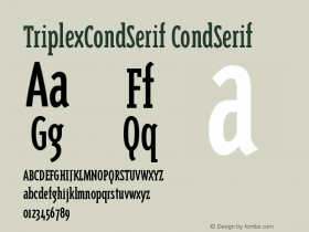 TriplexCondSerif CondSerif Version 001.000图片样张