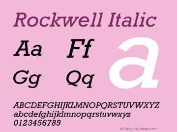 Rockwell Italic Version 001.000 Font Sample