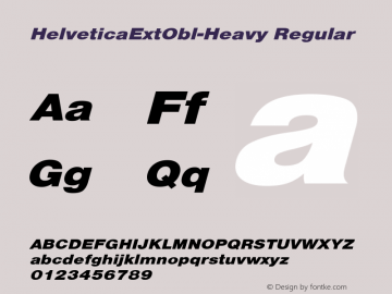 HelveticaExtObl-Heavy Regular Converted from D:\NYFONT\ST000080.TF1 by ALLTYPE Font Sample