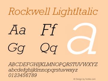 Rockwell LightItalic Version 001.000 Font Sample
