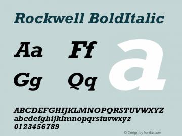 Rockwell BoldItalic Version 001.000 Font Sample