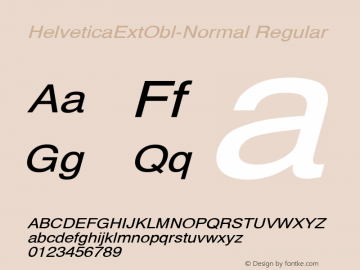 HelveticaExtObl-Normal Regular Converted from D:\NYFONT\ST000090.TF1 by ALLTYPE Font Sample