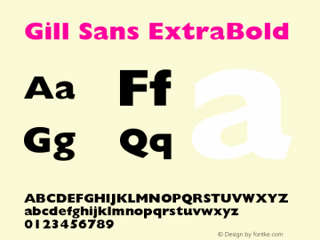 Gill Sans ExtraBold Version 0 Font Sample