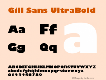 Gill Sans UltraBold Version 1 Font Sample
