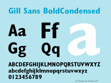 Gill Sans BoldCondensed Version 1 Font Sample