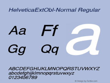 HelveticaExtObl-Normal Regular Converted from C:\EMSTT\ST000090.TF1 by ALLTYPE Font Sample