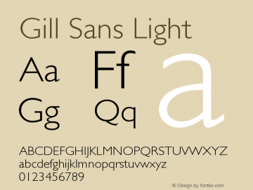 Gill Sans Light Version 3 Font Sample