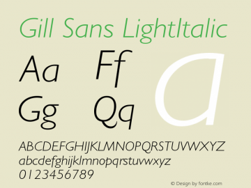 Gill Sans LightItalic Version 4 Font Sample
