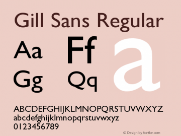 Gill Sans Regular Version 3 Font Sample