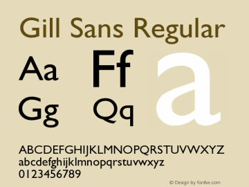 Gill Sans Regular Version 001.002 Font Sample