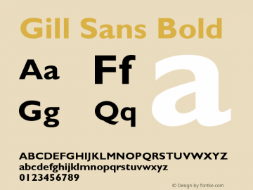 Gill Sans Bold Version 001.001 Font Sample