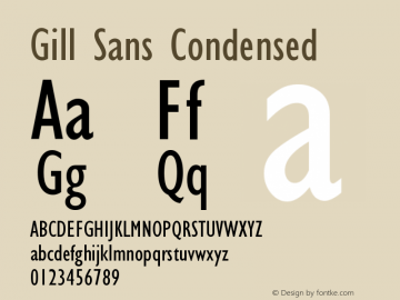 Gill Sans Condensed Version 001.001 Font Sample