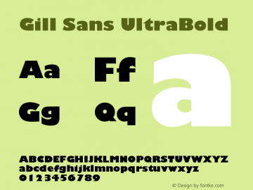 Gill Sans UltraBold Version 001.001 Font Sample