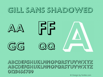 Gill Sans Shadowed Version 001.000 Font Sample
