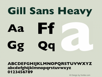 Gill Sans Heavy Version 001.003 Font Sample