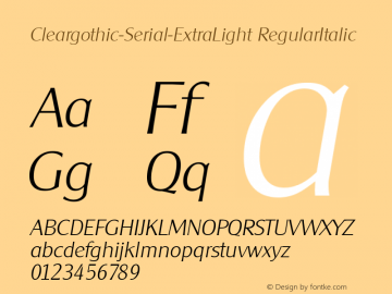 Cleargothic-Serial-ExtraLight RegularItalic 1.0 Fri Oct 18 17:10:58 1996 Font Sample