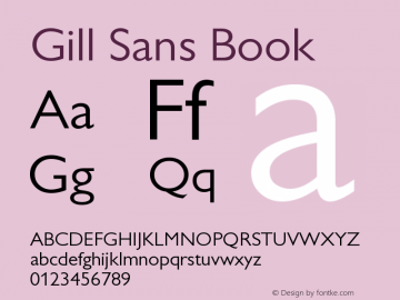 Gill Sans Book Version 001.003 Font Sample