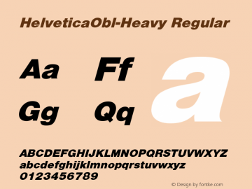 HelveticaObl-Heavy Regular Converted from D:\NYFONT\ST000081.TF1 by ALLTYPE Font Sample