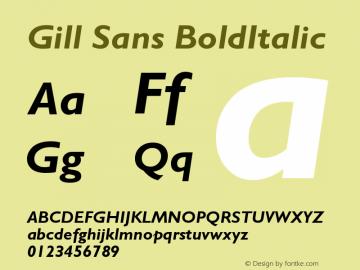 Gill Sans BoldItalic Version 001.003 Font Sample