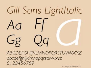Gill Sans LightItalic Version 001.003 Font Sample