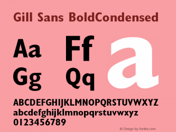Gill Sans BoldCondensed Version 001.002 Font Sample