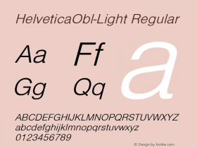 HelveticaObl-Light Regular Converted from D:\NYFONT\ST000086.TF1 by ALLTYPE Font Sample
