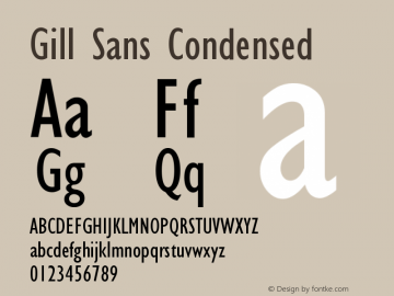 Gill Sans Condensed Version 001.002 Font Sample