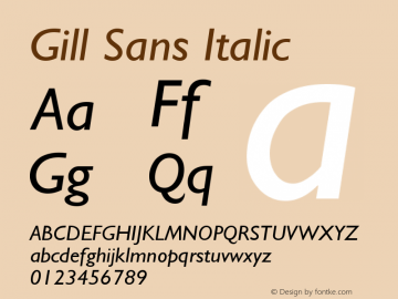 Gill Sans Italic Version 001.003 Font Sample