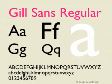 Gill Sans Regular Version 001.003 Font Sample