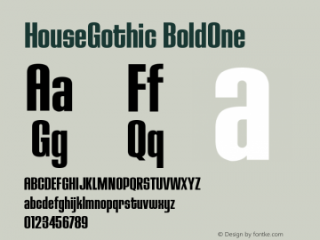 HouseGothic BoldOne Version 001.000图片样张